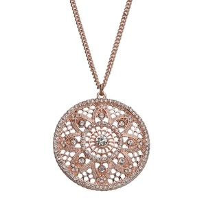 "New - Rose gold tone Crystal pendant 32"" necklace"